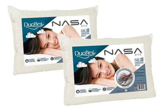 Kit 2 Travesseiros Nasa Alto Duoflex 100% Algodão Bege 50x70