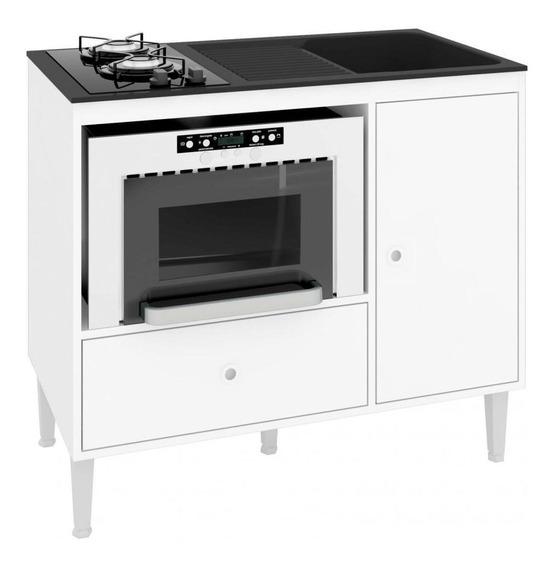 Balcão Compacto Multifuncional Para Cooktop Forno Pia Mônaco Bl9000 Art In Móveis - Branco