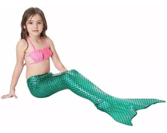 Traje De Baño Cola De Sirena Para Niña Ariel Sirenita