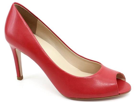 Sapato Peep Toe Jse 006 Couro Vermelho Loja Pixolé