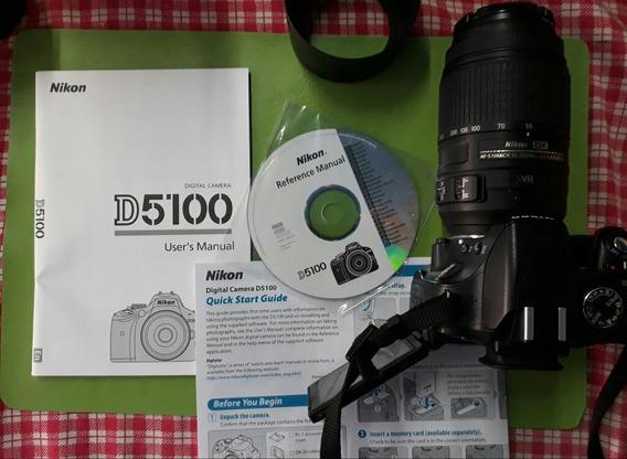 Nikon D5100 + Lente Kit 18-55 Mm. Impecable Pocos Disparos