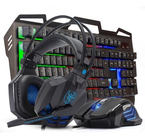 Kit Teclado Semi Mecânico Metal Gamer Mouse 3200dpi Headset