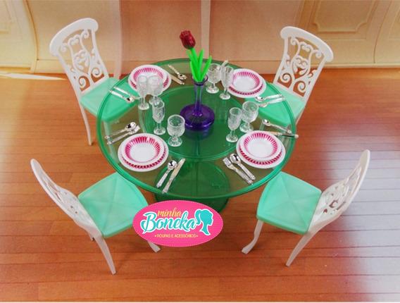 Sala De Jantar Para Casa Da Boneca Barbie : + De 30 Peças