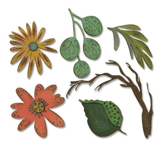 Set De Troqueladoras De Hojas Funky Floral Large Sizzix Thin