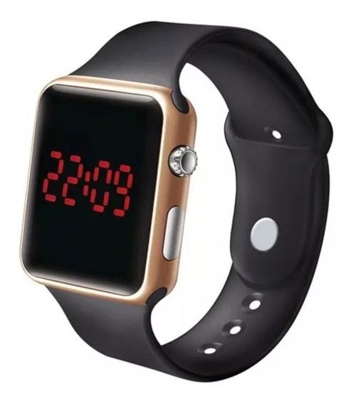 Relógio De Pulso Digital Led Masculino Feminino Dourado