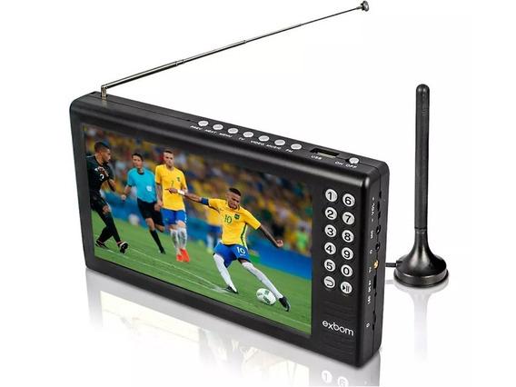 Tv Digital Tela 7 Hd Portátil C/ Bateria Usb Rádio Fm Mp3 Av