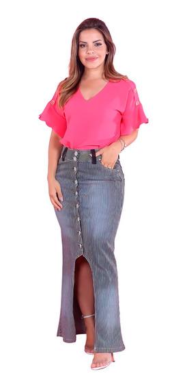 Saia Jeans Longa Evangélica Risca De Giz Justa Moda Feminina