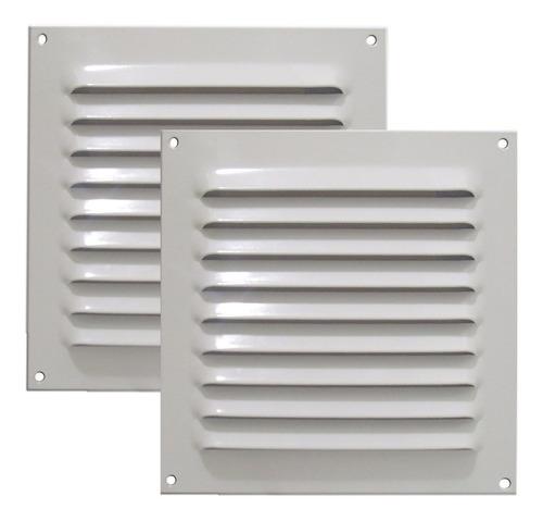 Kit 2 Grades Ventilação Quadrada Alumínio Branca Itc 20x20cm