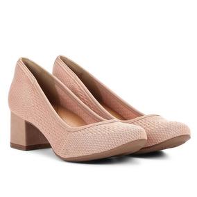 244cb74542 Sapato Bico Redondo Salto Baixo Rosa Sapatos - Sapatos no Mercado ...