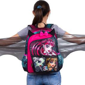 Mochila Em Cetim 15 Monster High - Com Asinhas De Morcego!!