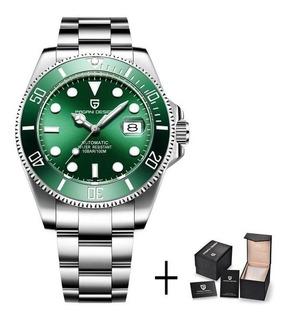 Reloj Pagani Design Automatico Pd-1639 Verde Acero No Rolex