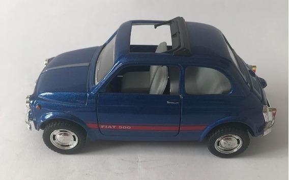 Fiat 500 - Escala 1/33 - Azul - Miniatura Colecionável