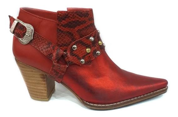 Zapato Mujer Botas Texanas Cuero Rojo Metalizado 2020