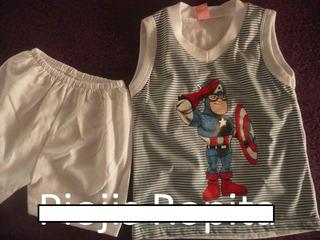 Conjunto Disfraz Bebe 100% Algodon Superheroes Remera Short
