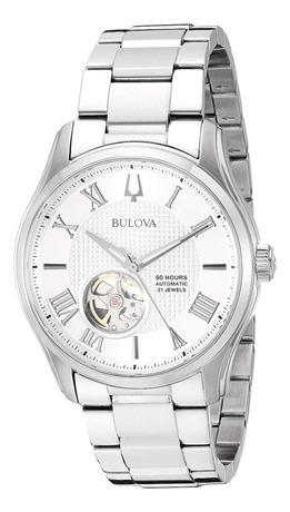 Relógio Masculino Bulova Automático Prata 96a207