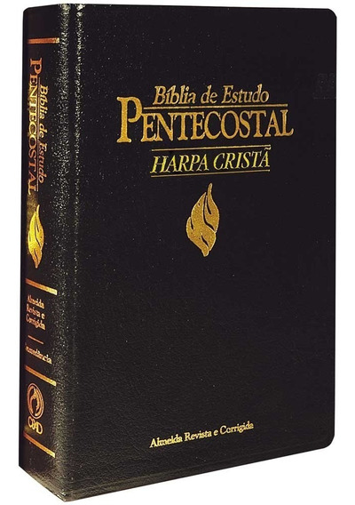 Bíblia De Estudo Pentecostal Média C. Luxo,preta C/ Harpa