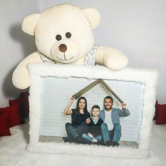 Urso Porta Retrato+sua Foto Revelada Presente Namorado
