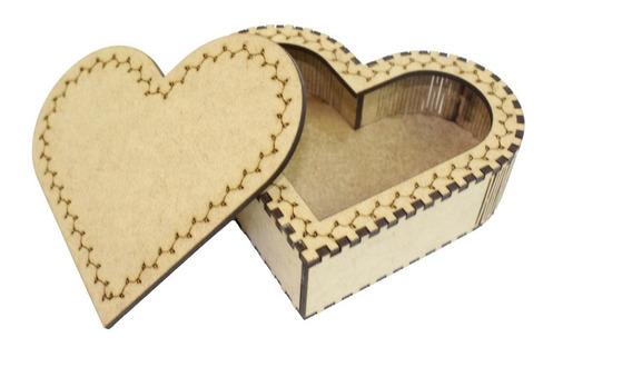 Caixinha De Coração Multi Uso Em Mdf - Porta Jóias