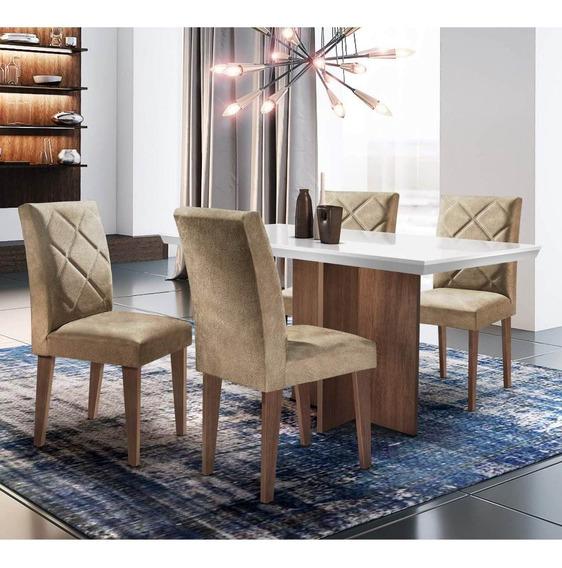 Mesa De Jantar Com 4 Cadeiras Cayman Siena Móveis Off Ge
