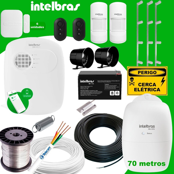 Kit Intelbras De Alarme + Cerca Elétrica 70 Metros