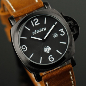 Relógio Infantry Milit Quartz Data Mostrador Preto P Couro