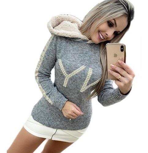 Blusa De Frio Feminina Com Capuz Ny Com Perola Inverno