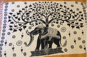 Canga De Praia Indiana, Elefante- Árvore Da Vida