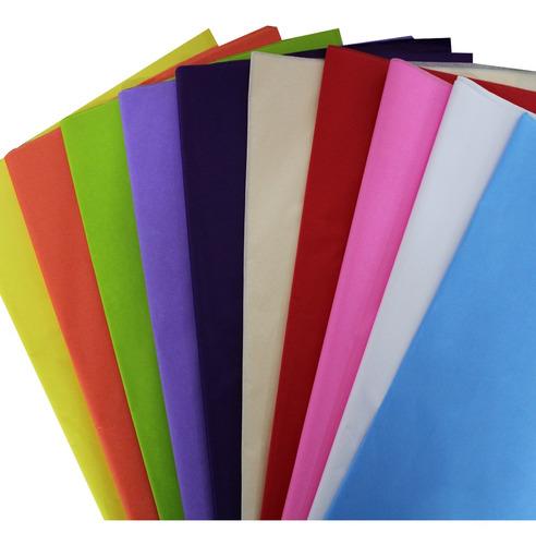 Imagem 1 de 1 de Papel De Seda Colorido Cores 48x60 Sortido Pacote 100 Folhas