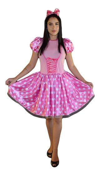 Vestido Minnie Rosa Adulto Com Tiara E Laço Cabelo