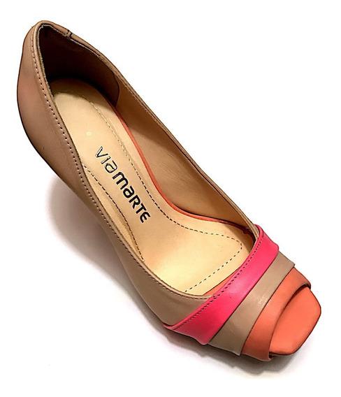 Sapato Feminino Via Marte Couro Alto Plataforma Embutida