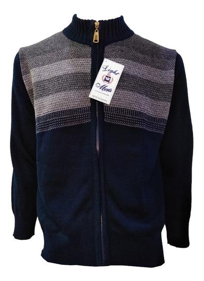 Suéter Azul Marino Con Gris Perla Cierre Completo