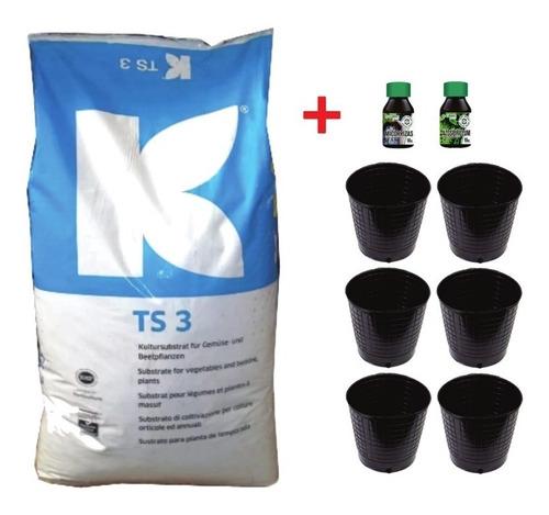 Sustrato Kit Cultivo Ts3 + 6 Macetas Sopladas + Fertis