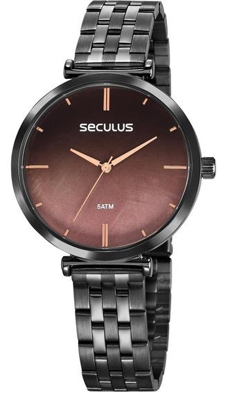 Relógio Feminino Preto Seculus Original A Prova D
