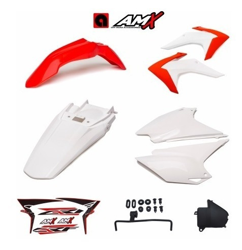 Kit Plásticos Crf 230 Mod. 2015 Vermelho Com Branco Amx