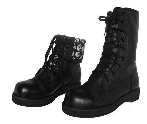Coturno Vilela Boots Rock Gótico - 100% Couro Cano Dobrável