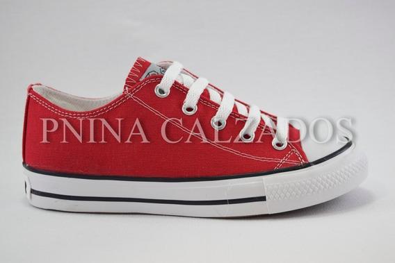 Zapatilla Lona Simil Converse Rojo Roller 21 Al 40