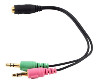 Splitter Divisor Microfono Audifono 3.5mm 2 Machos 1 Hembra