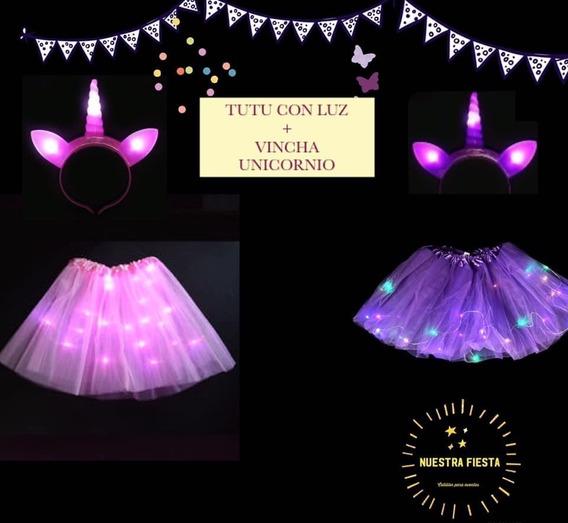 Vincha Unicornio Con Luz Mas Pollera Luz Led