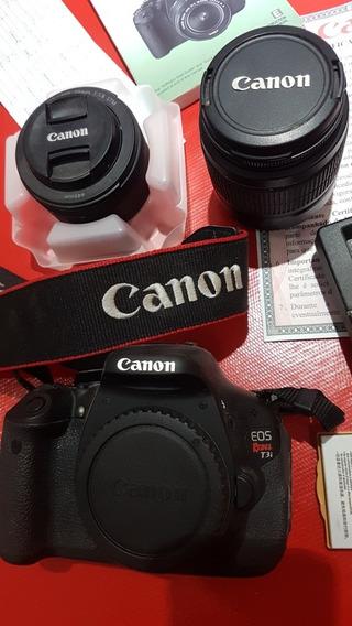 Canon T3i Com Lente 50mm 1.8 E 18-35mm