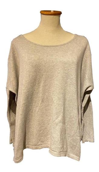 Sweater Pullover Gris Melange Modelo Amplio Pitucones Millie