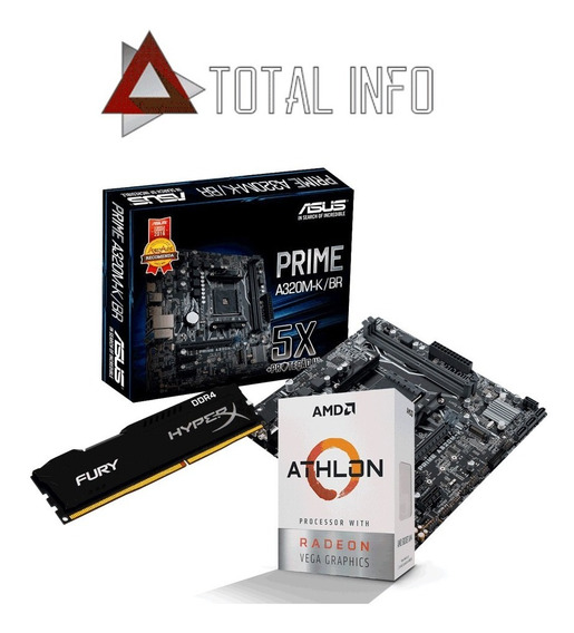 Kit Gamer Asus A320m-k + Athlon 200ge + 8gb 2400mhz C/nfe