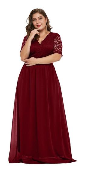 Vestido De Encaje Talla Extra Plus A Rodilla Espalda V N-013