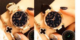 2 Relógios De Pulso Feminino Céu Estrelado Preto Marrom