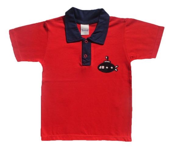 Camiseta Camisa Bebê Menino Com Gola E Manga Curta 100% Algodão