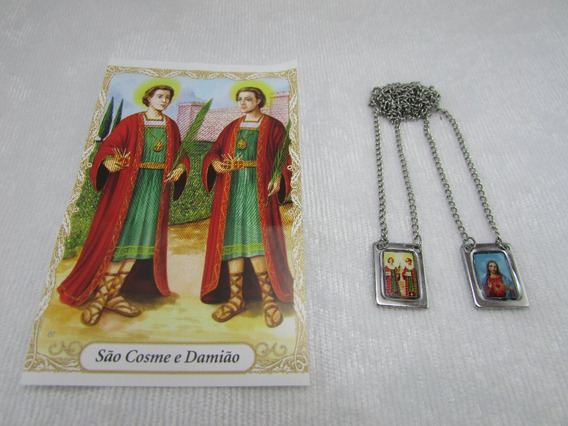 Escapulario São Cosme E Damião / Sag Coração De Jesus Inox
