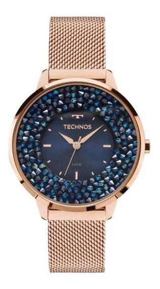 Relógio Feminino Technos Rosé Caixa Cristais Azuis 2035mle4a