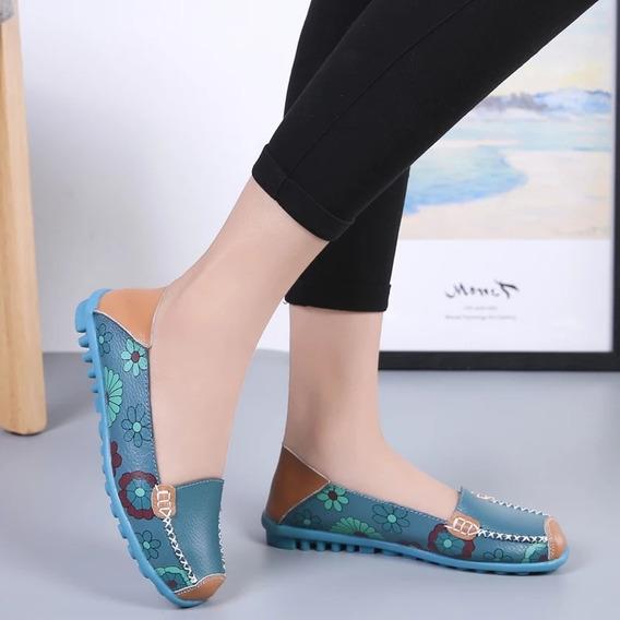 Zapatos Bajos De Mujer 100% Cuero
