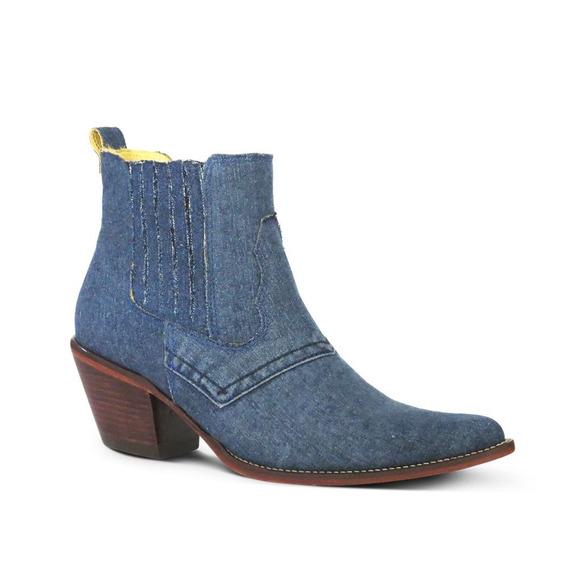 Bota Country Silverado 2251 Tecido Jeans Azul