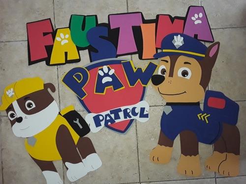 Paw Patrol Cartel Cumpleaños Atras Torta Patrulla Canina