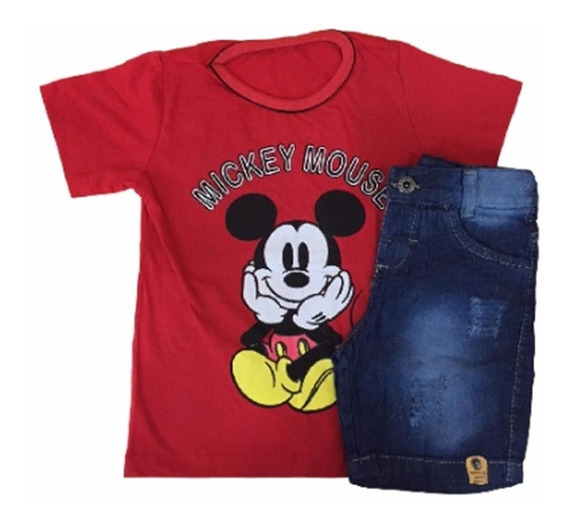 03 Conjuntos Infantis Jeans Brim Masculino Menino Atacado